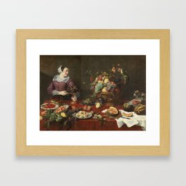 SNYDERS, FRANS Amberes, 1579 - Amberes, 1657 Larder with a Female Servant Ca. 1633 Framed Art Print
