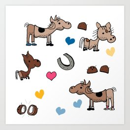 Clip Clop Horses stickers Art Print