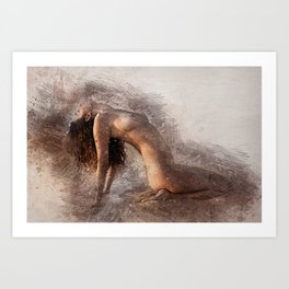 Naked Yoga on the Beach Art Print