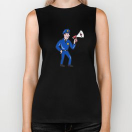 Policeman Shouting Bullhorn Isolated Cartoon Biker Tank