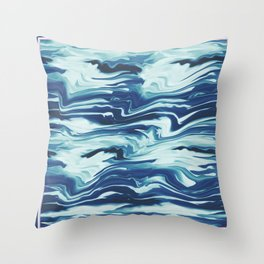 Marbled retro waves Throw Pillow