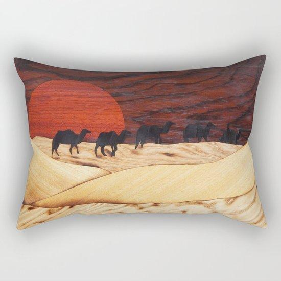 Desert landscape marquetry art Rectangular Pillow