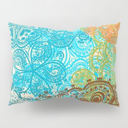 Indian boho pattern with ornament in blue, ornage and green Pillow Sham