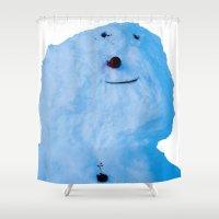 snowman Shower Curtains featuring Snowman  by AstridJN