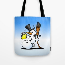 Snowman drinking a beer Tote Bag