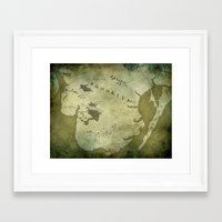 westeros Framed Art Prints featuring Fantasy Map of Brooklyn: Green Parchment by Midgard Maps