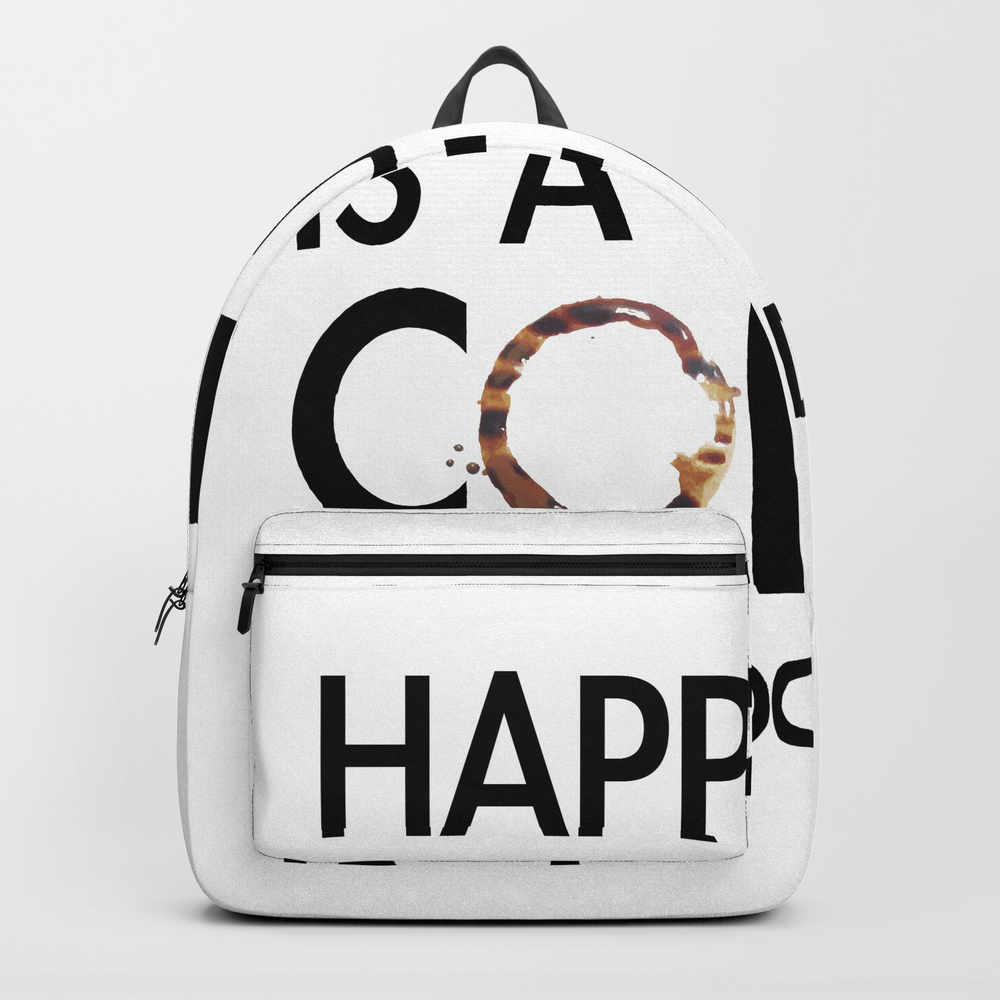 Happiness Is A Cup Of Coffee & A Good Book Backpack by Catmustache BKP8459679