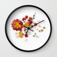 leah flores Wall Clocks featuring FLORES by Miles of Light