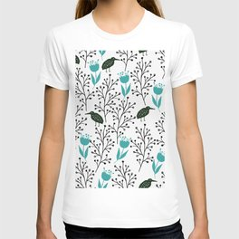 Kiwi Garden - black and blue, floral design with tulips and birds T-shirt