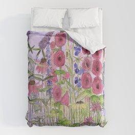 Watercolor Wildflower Garden Flowers Hollyhock Teasel Butterfly Bush Blue Sky Comforters