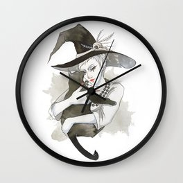 the witch with the cat Wall Clock