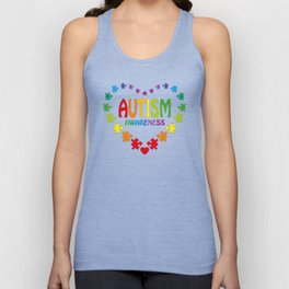 Autism Shirt in Shape of Heart made from Puzzle Pieces Tee Unisex Tank Top