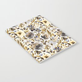 Gold and Grey Fall Feels Floral Notebook