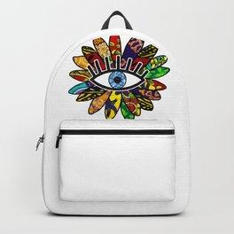 Greek Evil Eye African Flower Backpack