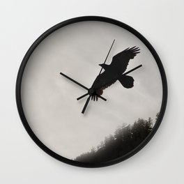 Raven Corvid Bird Northwest Mist Fog Forest Beach Landscape Oregon Wall Clock
