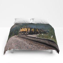 Train in Mountain Pass Comforters