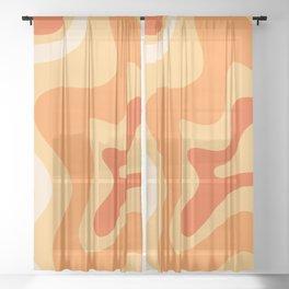 Retro Liquid Swirl Abstract Pattern Square in Tangerine Orange Yellow Tones Sheer Curtain