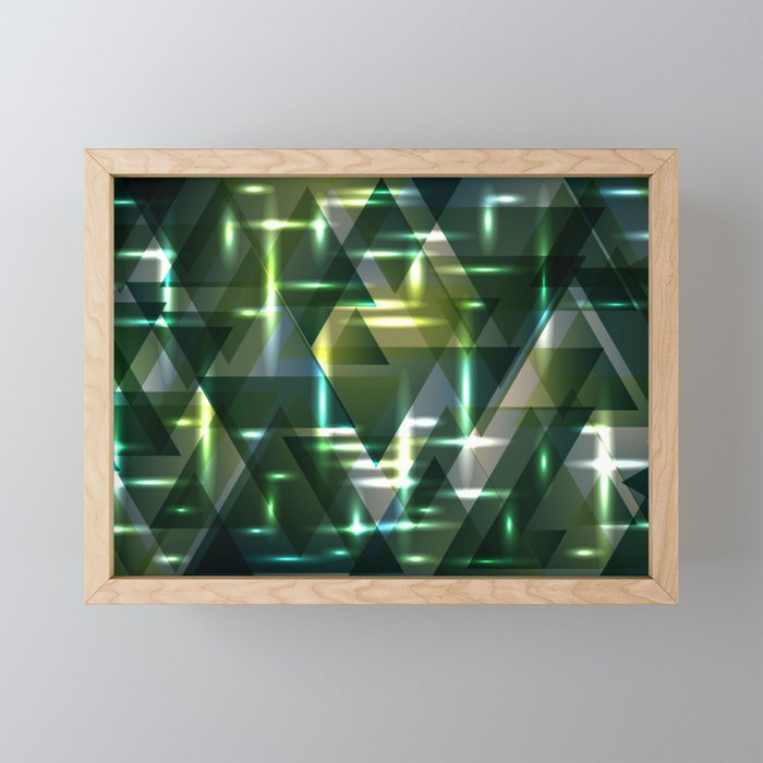 Spring pastel green and swamp shiny triangles. Framed Mini Art Print