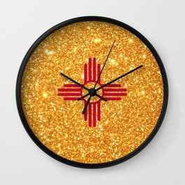 Gold Glitter New Mexico Flag Wall Clock