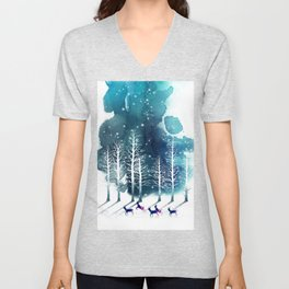 Winter Night 2 Unisex V-Neck