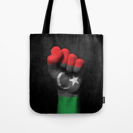 Libyan Flag on a Raised Clenched Fist Tote Bag