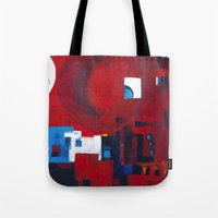 ballon Tote Bags featuring Red ballon by Nathalie Gribinski