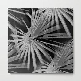 Gray Grey On Black Tropical Vibes Beach Palmtree Vector Metal Print