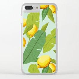 Tropical Lemon Summer pattern Clear iPhone Case