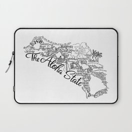 Hawaii - Hand Lettered Map Laptop Sleeve