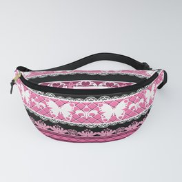 Black and pink striped pattern . Fanny Pack