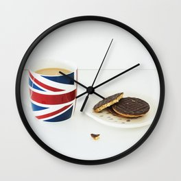 English Cup of Tea with Chocolate Biscuits Wall Clock