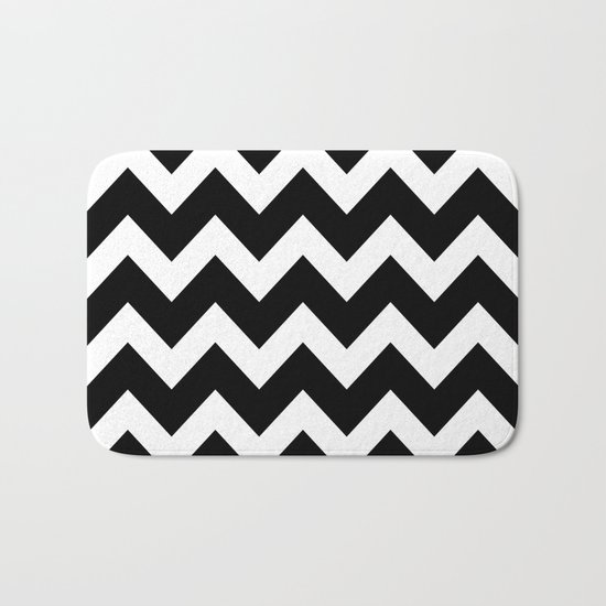 Chevron Black & White Bath Mat