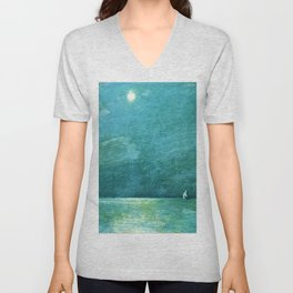 Classical Masterpiece 'Moonlight on the Sound' by Frederick Childe Hassam Unisex V-Neck