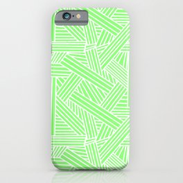 Sketchy Abstract (White & Light Green Pattern) iPhone Case
