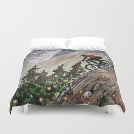 Downhill Biker Duvet Cover