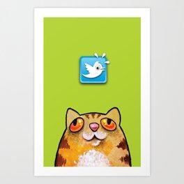 Cat love twitter bir green Art Print