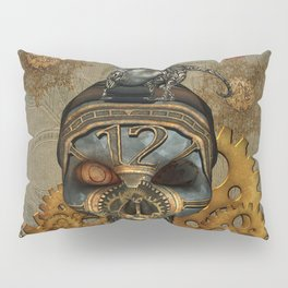 Steampunk, awesome steampunk skull with steampunk rat Pillow Sham