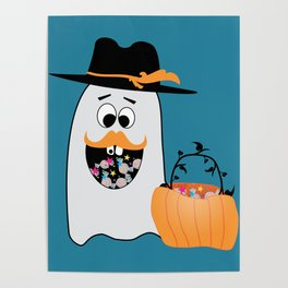 Silly Halloween Ghost Wants Your Candy Poster