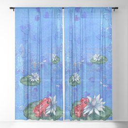 Red Frog on Lily Pad Sheer Curtain