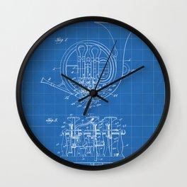 French Horn Patent - Horn Player Art - Blueprint Wall Clock