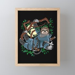 Sloth Ninja Framed Mini Art Print