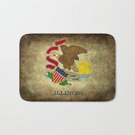 Illinois State flag, vintage on parchment paper Bath Mat