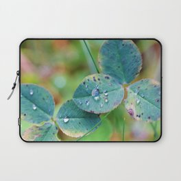 Clover leaves with rain drops Laptop Sleeve