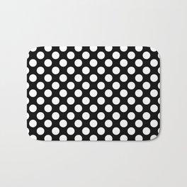 White Polka Dots with Black Background Bath Mat