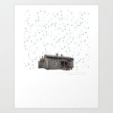Cabin In The Rain Art Print