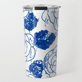 Blue blockprint roses Travel Mug