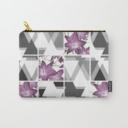 Pink lilies on grey triangles . Carry-All Pouch