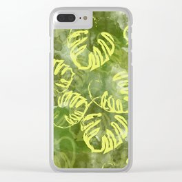 oil green palm leaves pattern Clear iPhone Case