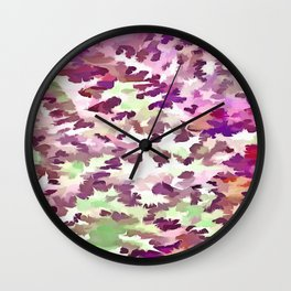 Foliage Abstract Pop Art In Ultra Violet and Fuchsia Pink Wall Clock