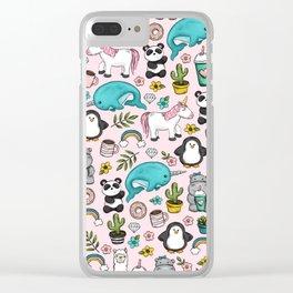 Llama and Friends, Tween Print, Narwhal, Panda,Unicorns, Penguins, Emoji Art Print Clear iPhone Case
